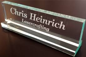 com office desk name plate 1 2 glass like acrylic personalized customized business and signs office s