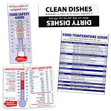 Meat Temperature Chart Guide And Dirty Clean Dishwasher Magnet