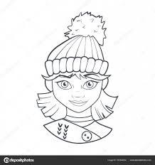 Boek Met Cartoon Van Schattig Meisje Kleurplaat In Warme Muts