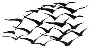 flock of metal flying birds wall art