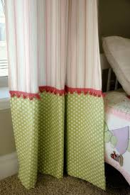 Creative ways to extend the length of your panels: adorable green and pink  curtains for