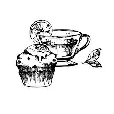 vintage tea cups drawing.  Cups Hand Drawn Sketch Of Tea Cup And Delicious Cupcake Vintage Sketch Great  For Banner With Cups Drawing C