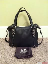 authentic coach black leather alexandra convertible satchel euc