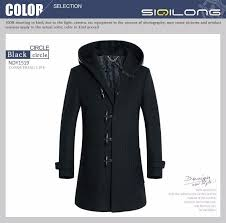fashion mens long hooded trench coat slim fit black cloak men thick winter trench coat men