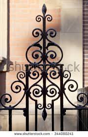 Ornate Wrought Iron Fencing Inner City Stock Photo 344080241