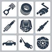auto parts clip art. Plain Art Vector Car Parts Icons Set Inside Auto Parts Clip Art R