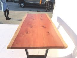 Redwood Slab Dining Table Redwood Slab Table By Dog And Pig Furniture Berkeley Ca Www