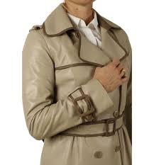 sl12120 las designer two colour leather trench coat
