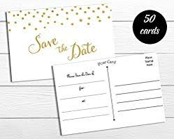 Blank Save The Date Cards Amazon Com 50 Save The Date Postcards Gold Confetti Fill In The