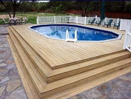 above ground pool with deck surround. Above-Ground Swimming Pool Designs, Shapes And Styles: An Above-ground With A Wood Deck Surround In San Antonio, Texas. Above Ground M