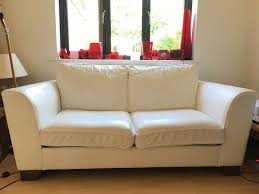 m s marks and spencer 2 urbino white leather sofas 1 is a sofa bed