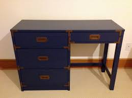 navy blue desk. Refinished Navy Blue Campaign Desk With Original Brass Hardware A