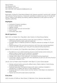 Chase Personal Banker Summary Highlights Personal Banker Resume