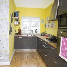 Gray floor  Yellow and grey kitchen ...