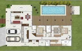 Planta de sobrado com piscina e deck. 25 Plantas De Casas Em L Ideias Dicas Modelos