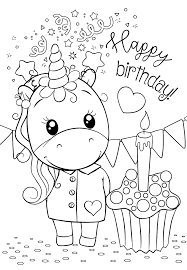We've got birthday candles to colour in, cut out and stick on too. Unicorn Happy Birthday Coloring Pages For You