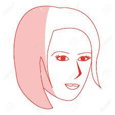 Silhouette Rouge Ombrage Dessin Animé Côté Profil Visage Femme à Court Coiffure Vector Illustration