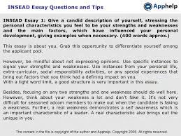insead essays insead essay tips insead essay questions and tips insead essay 1 give a candid description of yourself