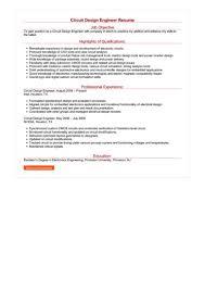 Circuit Design Engineer Resume Great Sample Resume