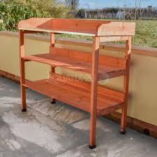 3 tier wooden garden potting table bench workstation storage shelves plants