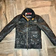 details about worn in superdry falcon leather jacket brown british flag distressed size small