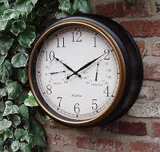 outdoor garden wall clock thermometer humidity 45cm station black gold rim