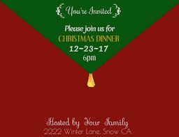 Holiday Dinner Invitation Template Christmas Dinner Invitation Template Postermywall
