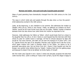 romeo and juliet are lord and lady capulet good parents gcse  document image preview