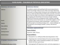 Teacher Curriculum Vitae Template