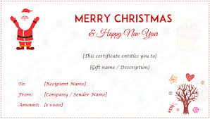 Christmas Gift Certificate Templates Editable And