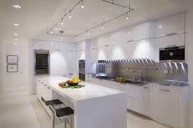lighting high tech white kitchen designs concept with long island track mounted on wall long track lighting52