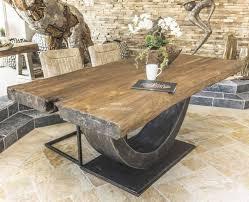Der Tischonkel Design Esstisch Teak Halbmond 200x100x82cm