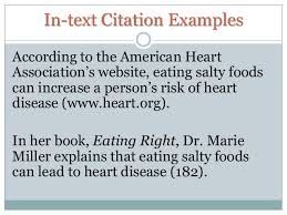 mla citations 4 in text citation examplesaccording to the american heartassociation s website