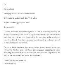 Marketing Plan Cover Letter Sales Proposal Sample Marketing Letter