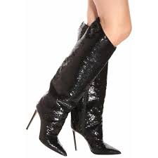 red luxury brand women boots ping black patent leather slouch sequins knee high plain cone heels pointed toe runway shoes football boots army