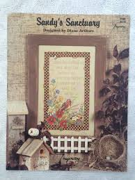 Diane Arthurs Cross Stitch Designs Diane Arthurs Sandys Sanctuary Flower Garden With Bird And