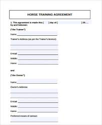 Horse Training Agreement Template Sample Training Agreement 9 ...