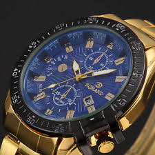 men s watches luxury men s date gold stainless steel military army quartz sport wrist watch