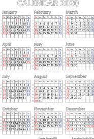 Calendar 2020 Australia Printable Pdf Free Printable Pdf