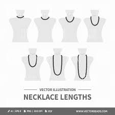 Necklace Length Chart Vector Illustration
