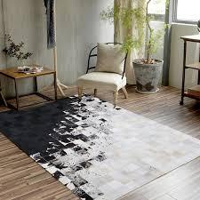 brazil milk cow leather carpet european geometry living room study room table mat bedroom bedside rug customization carpet samples nylon carpet
