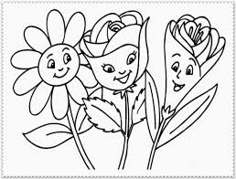 Small Picture Funny Cartoon Flowers Coloring Page For Kids Flower Coloring