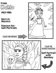 And though we don't realize it kids in her neighborhood used to know she was passing by when they started smelling roses. Frida Kahlo Coloring Page Worksheets Teaching Resources Tpt
