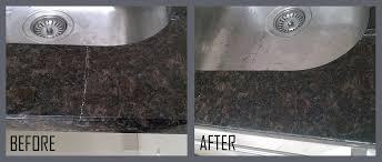 before and broken kitchen countertop repair