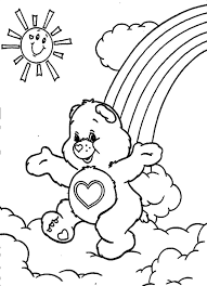 Small Picture Care Bears Running Above The Clouds Care Bears Coloring Pages