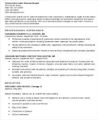 Resumes For Construction Construction Worker Resume Samples Resumes For Excavators