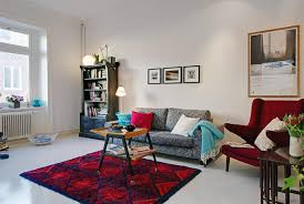 modern and simple interior small living room design with cheap red