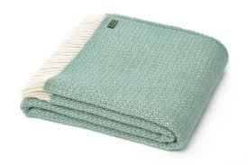 windmill sea green wool blanket throw