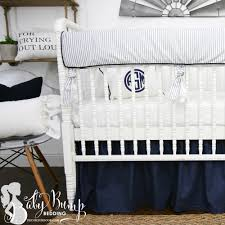 farmhouse navy white ticking stripe gender neutral baby crib bedding