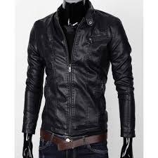 men s stand collar zipper pocket slim fit faux leather jacket